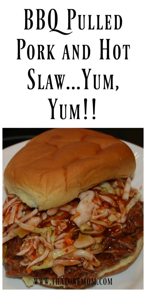 Pulled Pork BBQ and Hot Slaw...Yum, Yum!!!! www.thatonemom.com