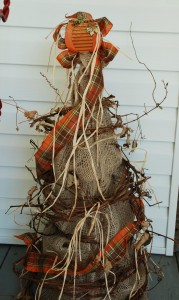 Burlap Tree With Pumpkin