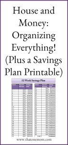 House and Money: Organizing Everything! (Plus a 52-Week Savings Plan Printable) www.thatonemom.com