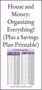 House and Money:  Organizing Everything!  (Plus a Savings Plan Printable)