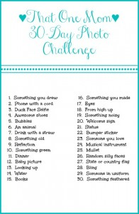 That One Mom 30-Day Photo Challenge