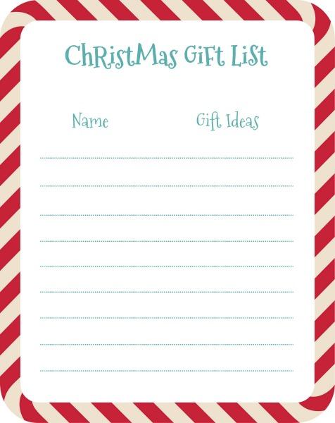 Gift List Printable www.thatonemom.com