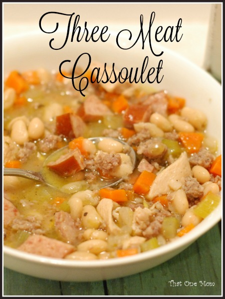 Three Meat Cassoulet  www.thatonemom.com