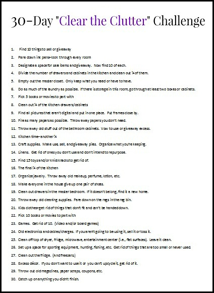 """30 Day """"Clear the Clutter"""" Challenge!! (Plus a Printable to Keep You On Track) www.thatonemom.com"""