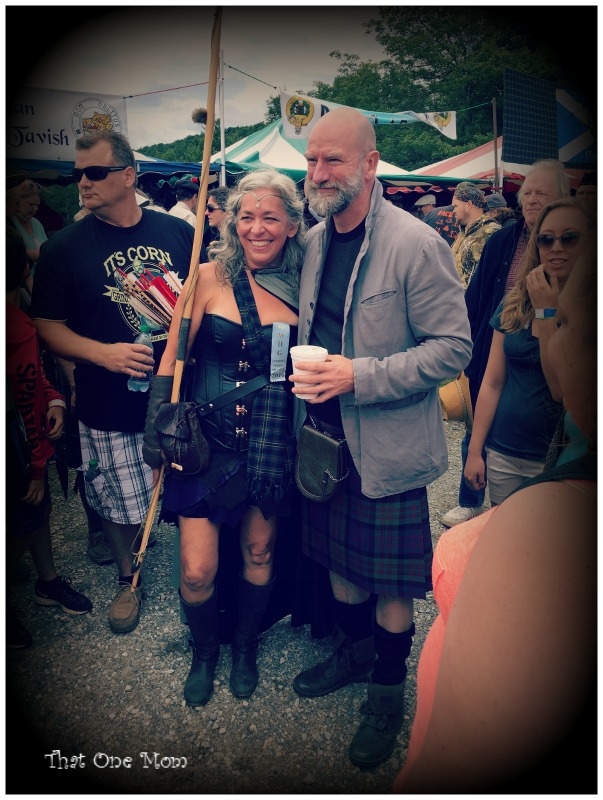 Graham McTavish at the Grandfather Mountain Highland Games with a warrior woman (maybe Boadicea??) www.thatonemom.com