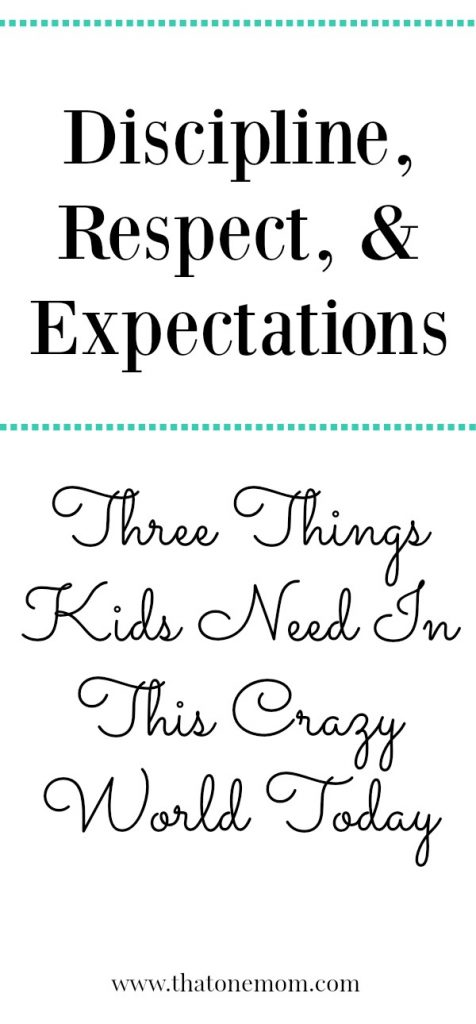 Discipline, Respect, & Expectations: Three Things Kids Need In This Crazy World Today www.thatonemom.com