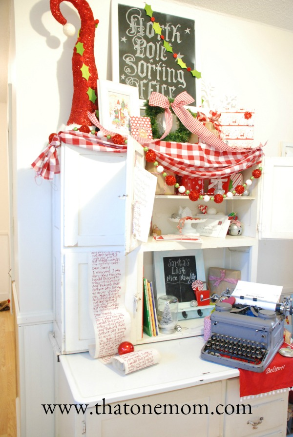 Cabinet decorated for Christmas