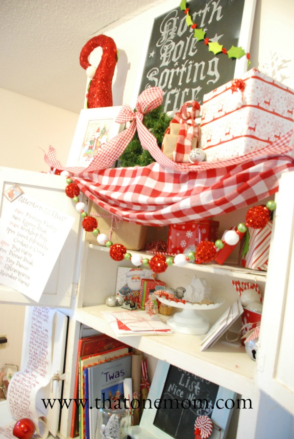 Top of Hoosier Cabinet with Christmas decor