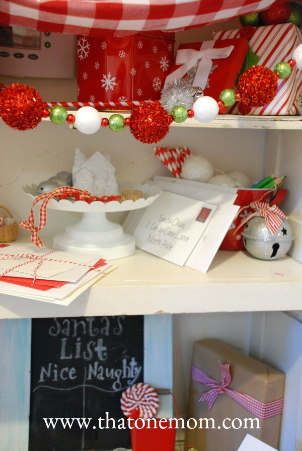 Shelf with Christmas decor
