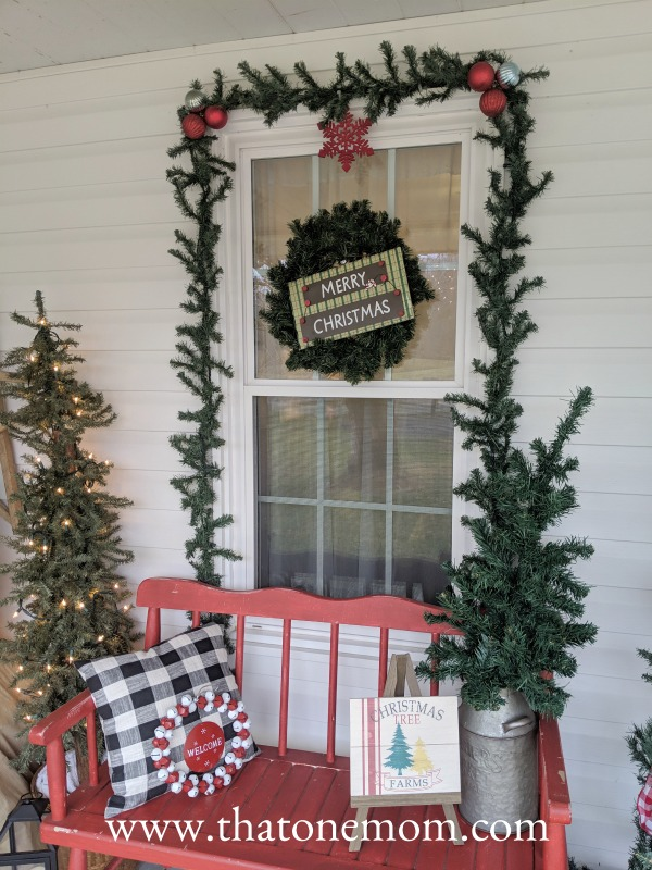 Christmas decorations on the front porch