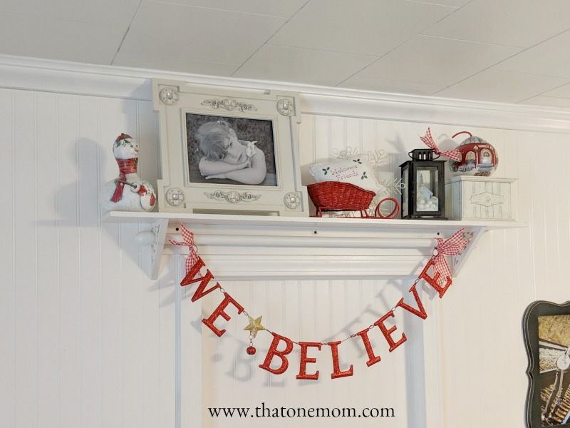 Shelf decorated for Christmas